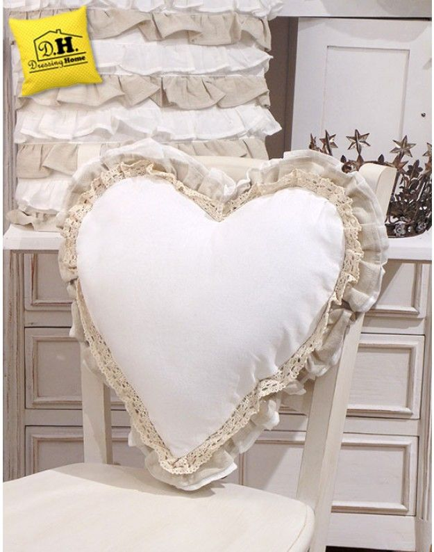 Cuscino schienale Shabby Chic New Fru Fru Collection Blanc
