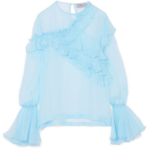 7442159e9b6d1 Preen by Thornton Bregazzi Marika ruffled silk-chiffon blouse ( 760) ❤ liked  on