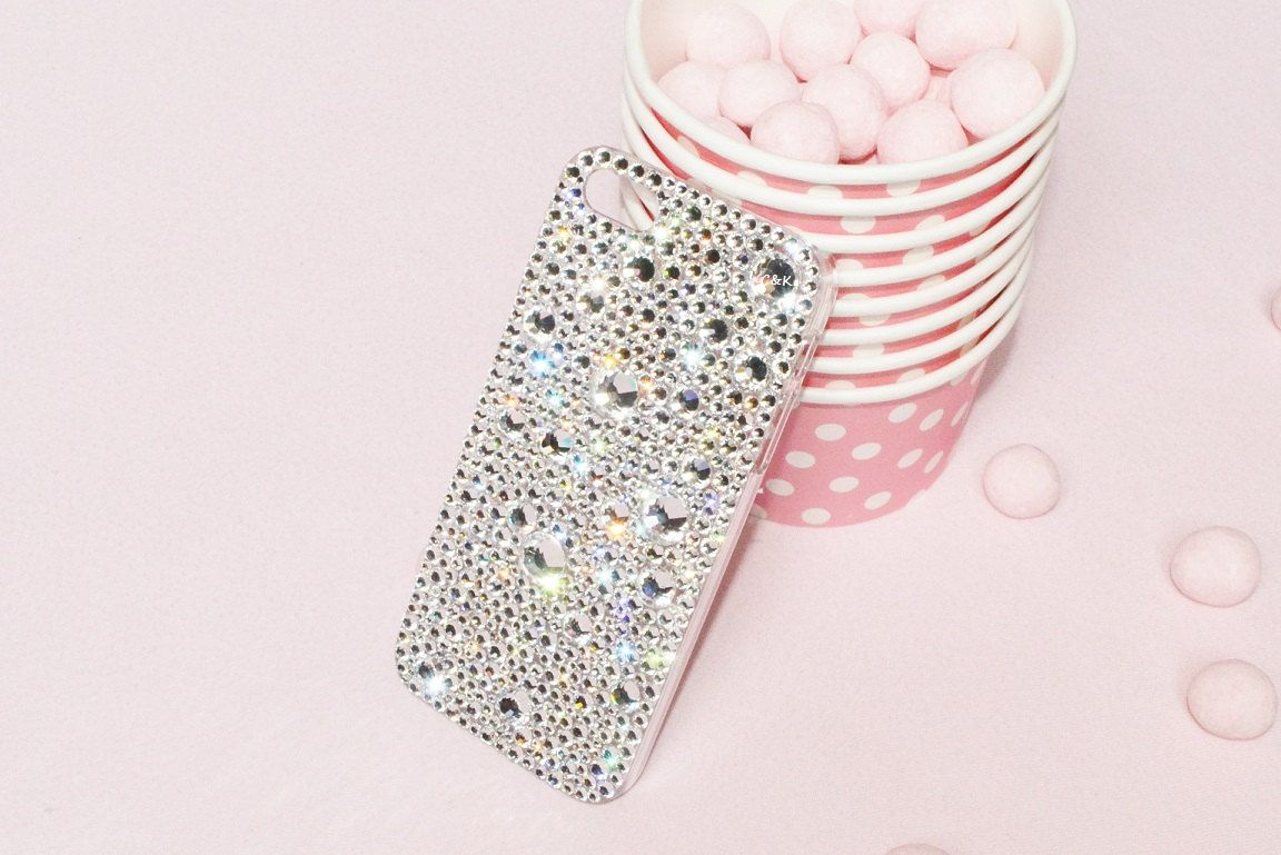 Clear Crystal Encrusted Hard Phone Case by CrystalsAndKawaii, £40.00