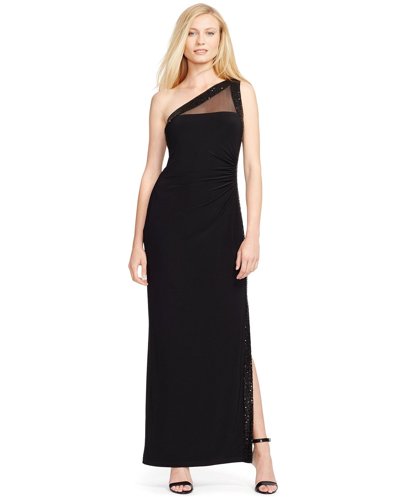 Lauren Ralph Lauren One-Shoulder Illusion Gown - Dresses - Women ...
