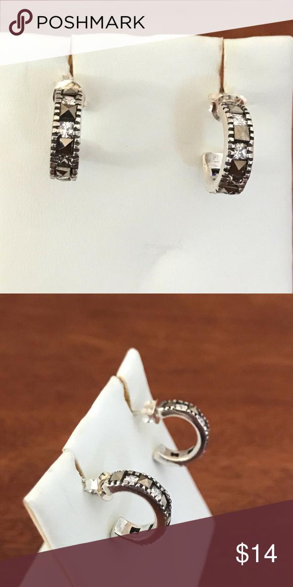 25526b8e0 Sterling Silver Rhinestone Hoop Earrings 11mm This is a pair of Sterling  Silver rhinestone hoop earrings. This set is brand new, but because it  needs ...