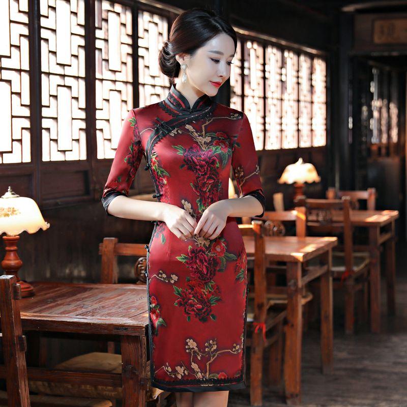 a99b73ff4 2018-New-Women-Classic-Satin-Print-Chinese-Dress-Sexy-Handmade ...