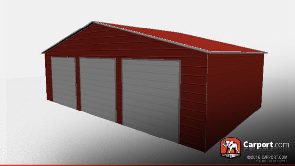 Best Three Car Garage Storage Building With Vertical Roof 400 x 300