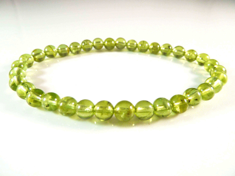 Green Peridot Uncut Bead Bracelet Minimalist