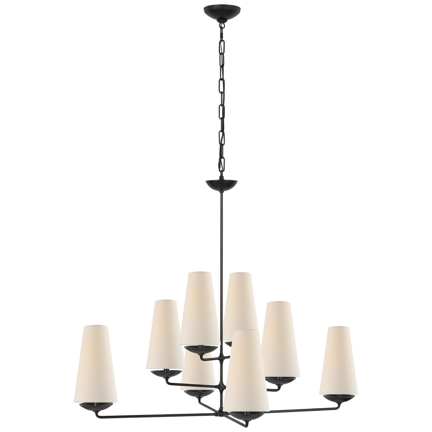 """Fontaine Large Offset Chandelier in Aged Iron with Linen Shades Item # ARN 5205AI-L   Designer: AERIN Fixture Height: 33.5"""" Width: 35.5"""" Canopy: 5"""" Round Socket: 8 - E12 Candelabra Wattage: 8 - 40 B"""