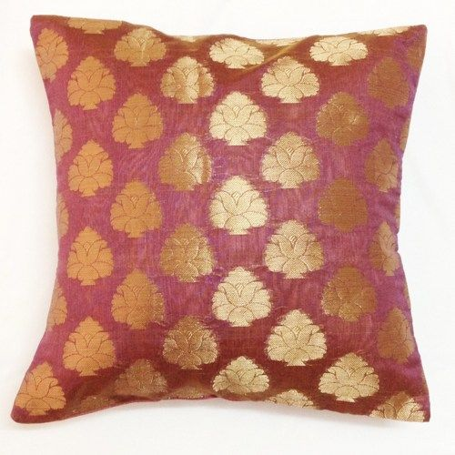 Decorative Silk Pillow Cover - Handmade Throw Pillow in Lavender and Gold - Silk Cushion Cover  12x12  inches | desicraf