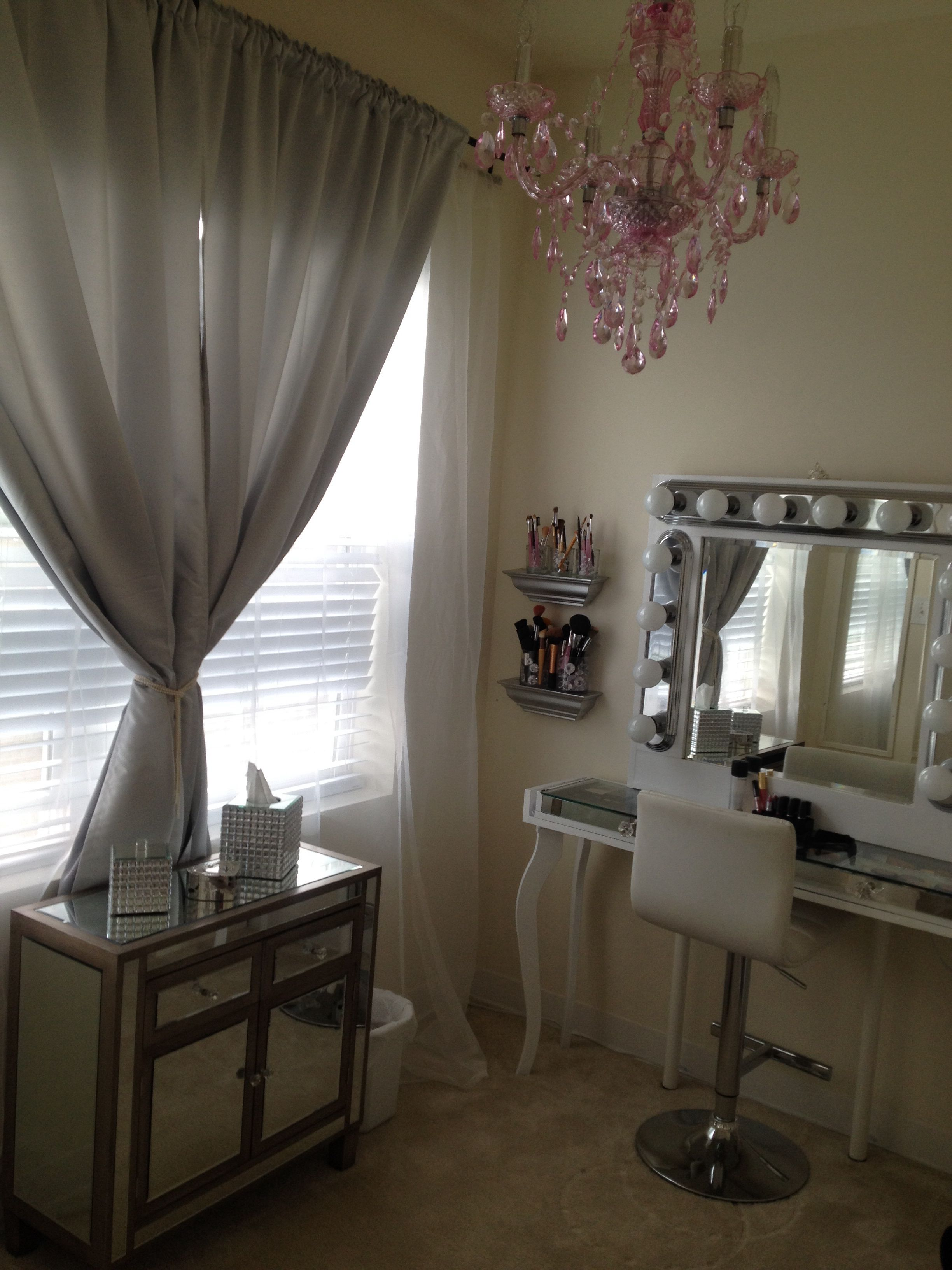 Hollywood Chic Glam Vanity Table Pink Chandelier Silver Sheer White Curtains Makeup Room Vanity Room Curtains Living Room Shabby Chic Curtains Room Decor #silver #curtains #living #room
