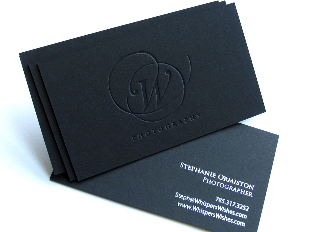 Black Business Cards Matte Silver and blind impression 700gsm