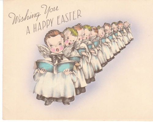 Vintage Easter Card Choir Boys and Girls Cloth Skirt Marjorie Cooper Children | eBay