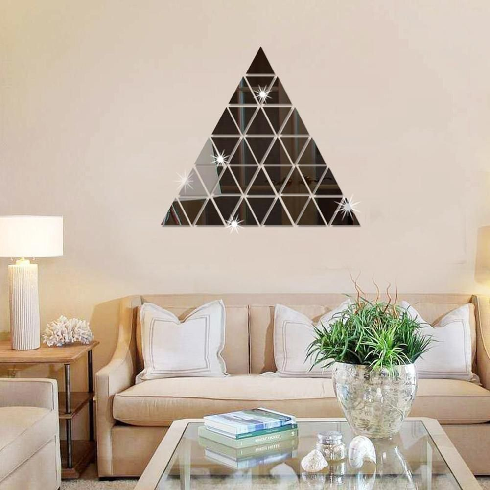 Photo of 100 Pcs Acrylic 3D Triangle Mosaic Mirror Effect Wall Sticker Home Room DIY – Golden