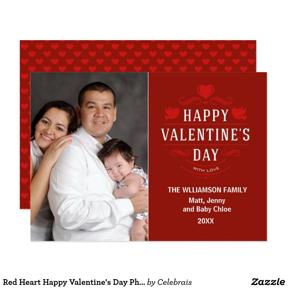 Red heart happy valentines day photo card