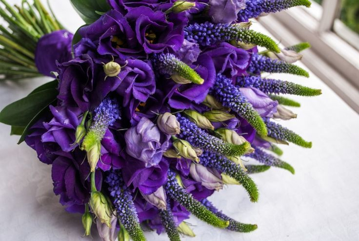 Blue-Violet Veronica, Purple Lisianthus Wedding Bouquet ...