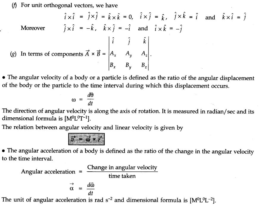 System of Particles and Rotational Motion - CBSE Notes for