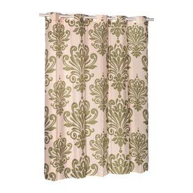 Carnation Home Fashions Polyester Sage Ivory Patterneded Shower Curtain 72 In X 70