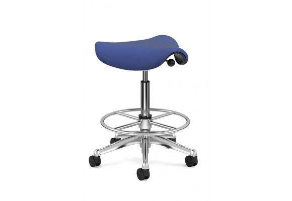 Humanscale Pony Saddle V607 Periwinkle Aluminum Color Base 8 Height Range Adjustability Ergonomic Stool Saddle Chair Office Seating