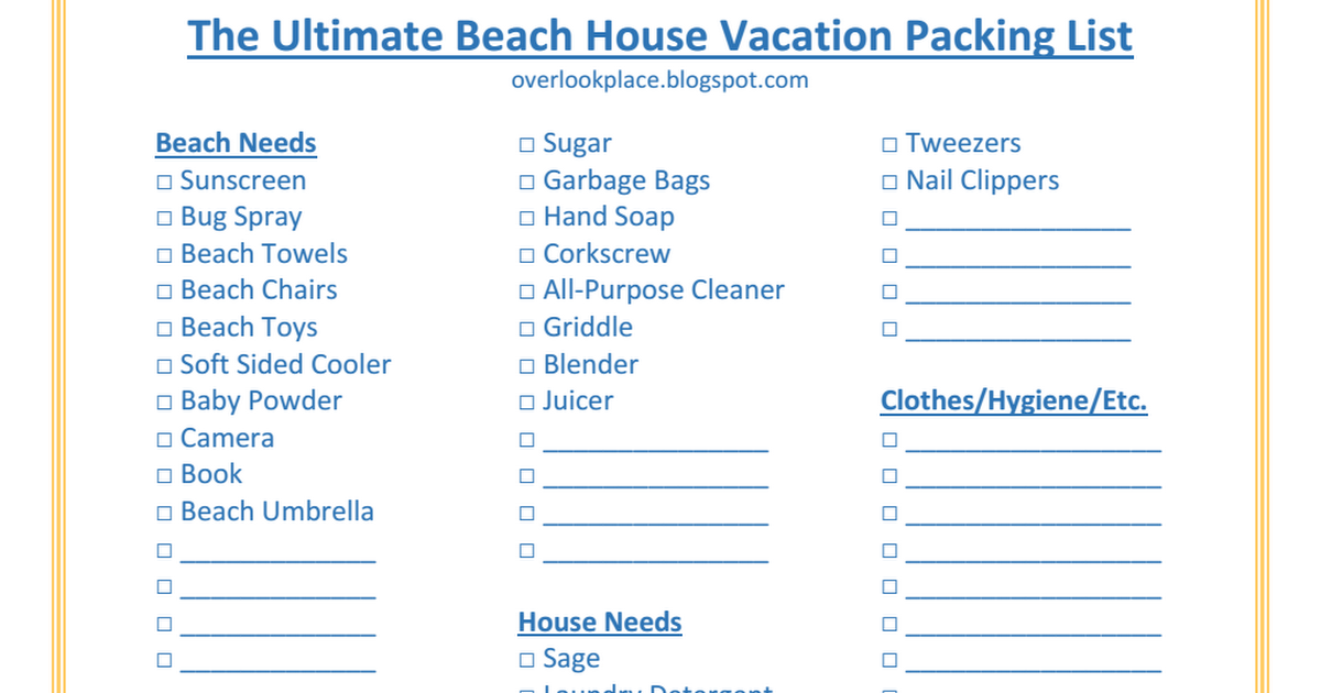 Ultimate Beach House Vacation Packing Listpdf
