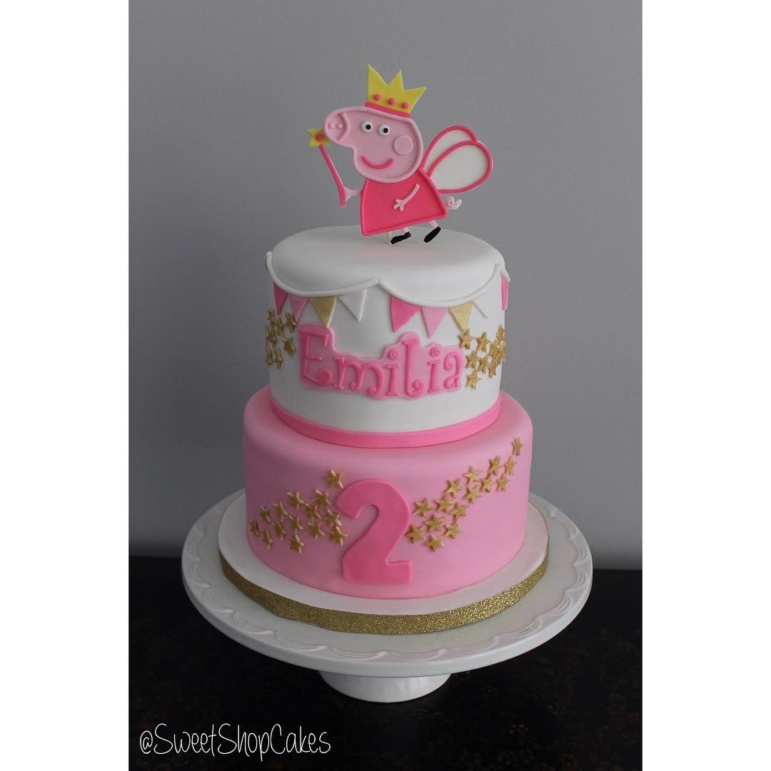 Pink And Gold Peppa Pig Fairy Cake For A 2nd Birthday Celebration