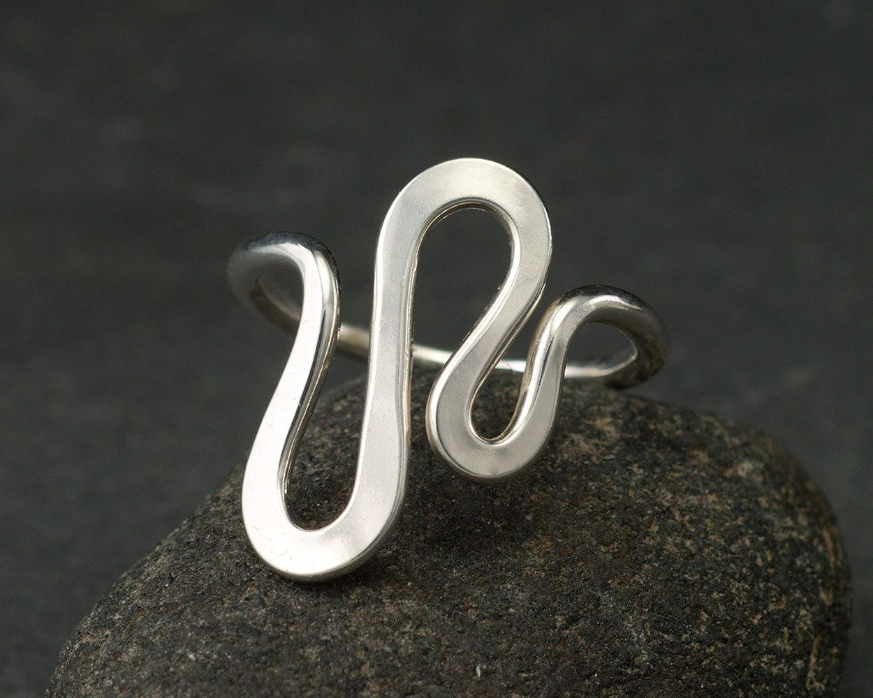 Sterling Silver Ring -Silver Ring- Modern Silver Wave Ring- Sterling ...