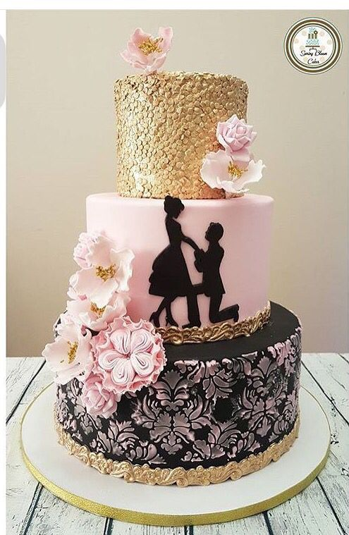 Pink Gold Engagement Cake Engagement Cake Design Spring Wedding Cake Reception Cake