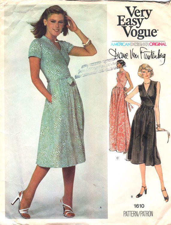Vogue 1610 1970s  Misses  Wrap DRESS Pattern Diane Von Furstenberg womens vintage sewing pattern by mbchills