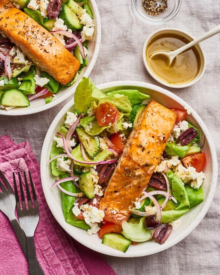 Recipe Easy Healthy Greek Salmon Salad Recipe Salmon Salad Recipes Salmon Salad Pescatarian Recipes