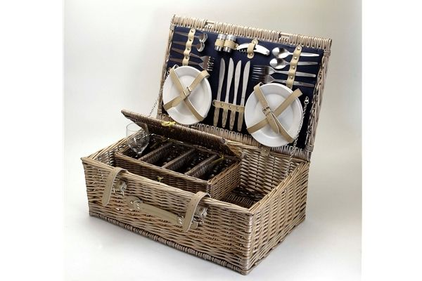 Sundowner Barossa Four Piece Wicker Picnic Basket Lunch Outdoor Camping NEW