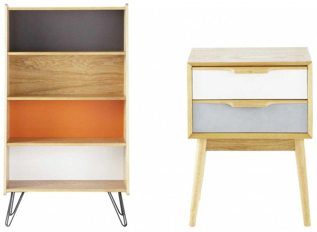 biblioth que et table de chevet chez maisons du monde meubles d 39 inspiration scandinave home. Black Bedroom Furniture Sets. Home Design Ideas