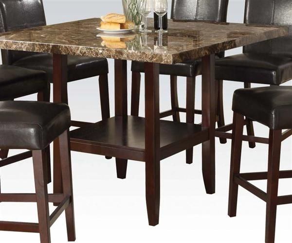 Idris Espresso Wood Faux Marble Square Counter Height Table
