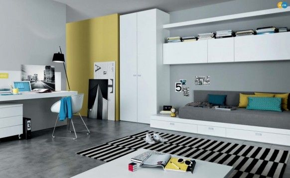 Mustard black white contemporary teenagers room