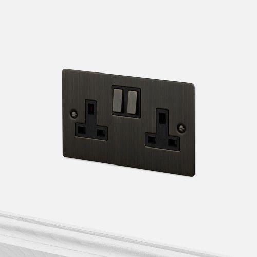 2g Uk Plug Socket Smoked Bronze Light Switches Sockets
