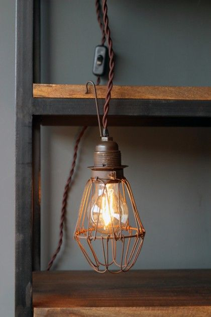 wire cage light including vintage style flex with switch plug included ceiling pendant. Black Bedroom Furniture Sets. Home Design Ideas