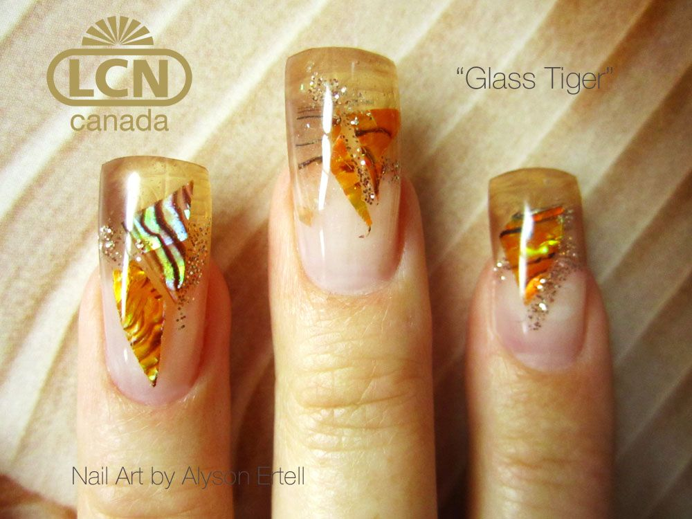 'Glass Tiger' by Alyson Ertell Shattered glass nails