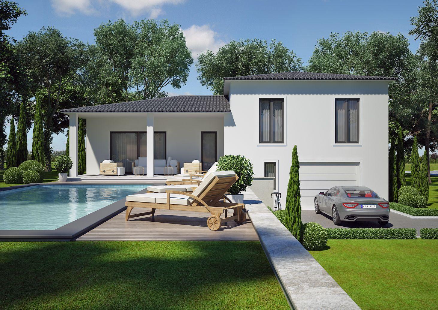 Modele Villa Contemporaine 100m2 Demi Etage Agate Azur Logement