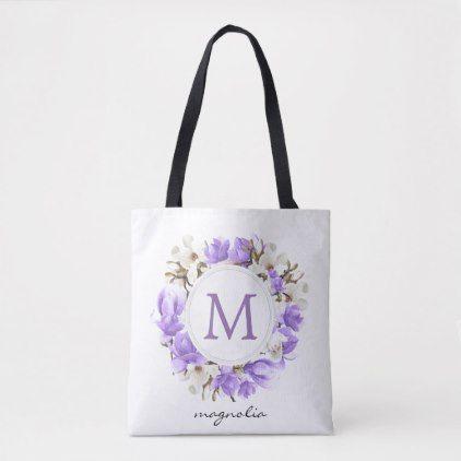 Photo of Watercolor Purple Magnolia Wreath Monogram Tote Bag   Zazzle.com