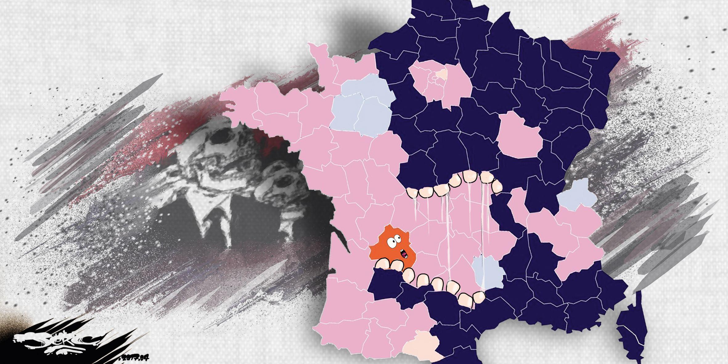 JERC (2017-04-27) France:  carte des résultats définitif des élections - présidentielles 1er tour -  la France apaisée au nom du peuple www.facebook.com/jercdessin