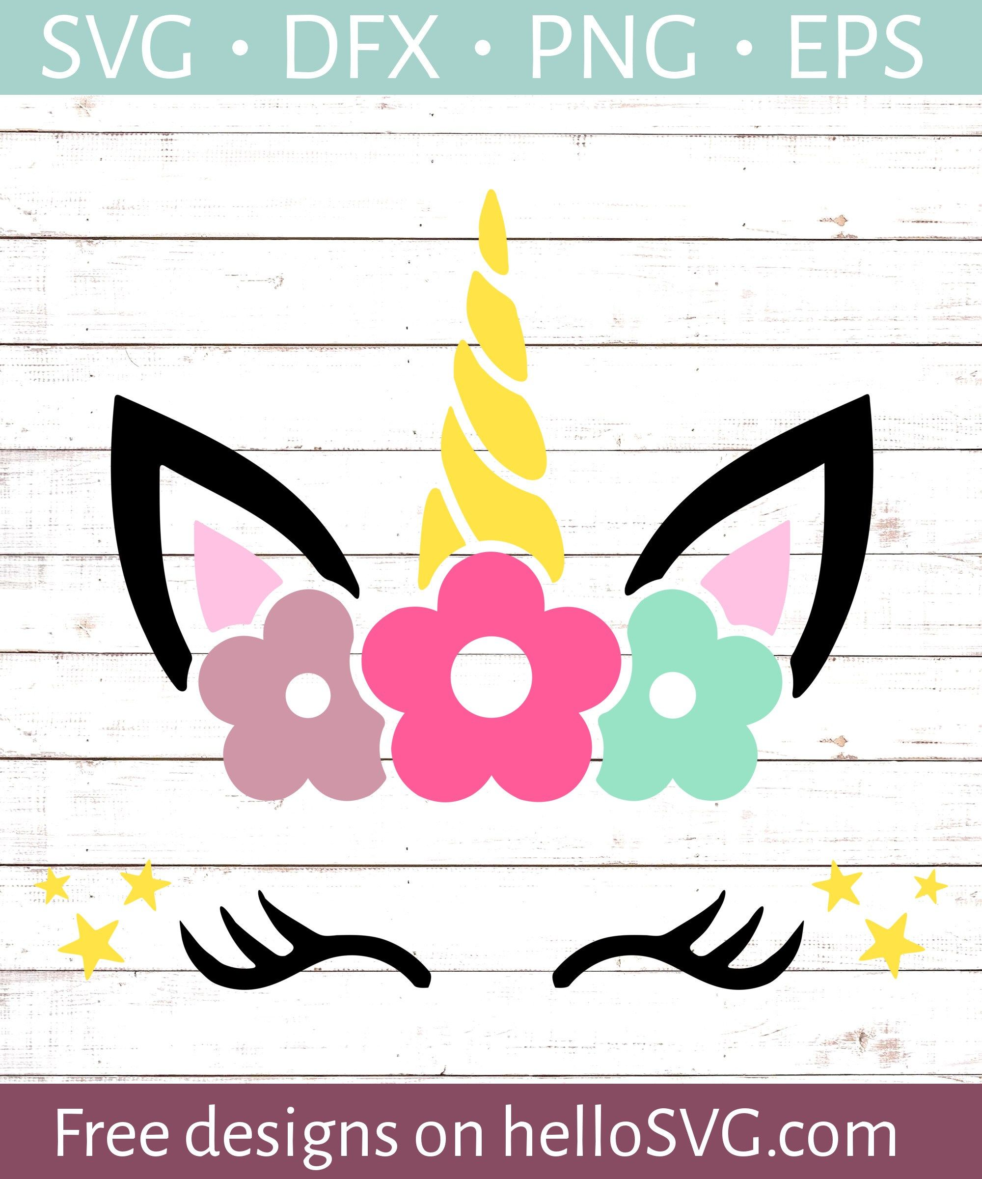 Unicorn Face With Flowers Unicorn svg, Unicorn face