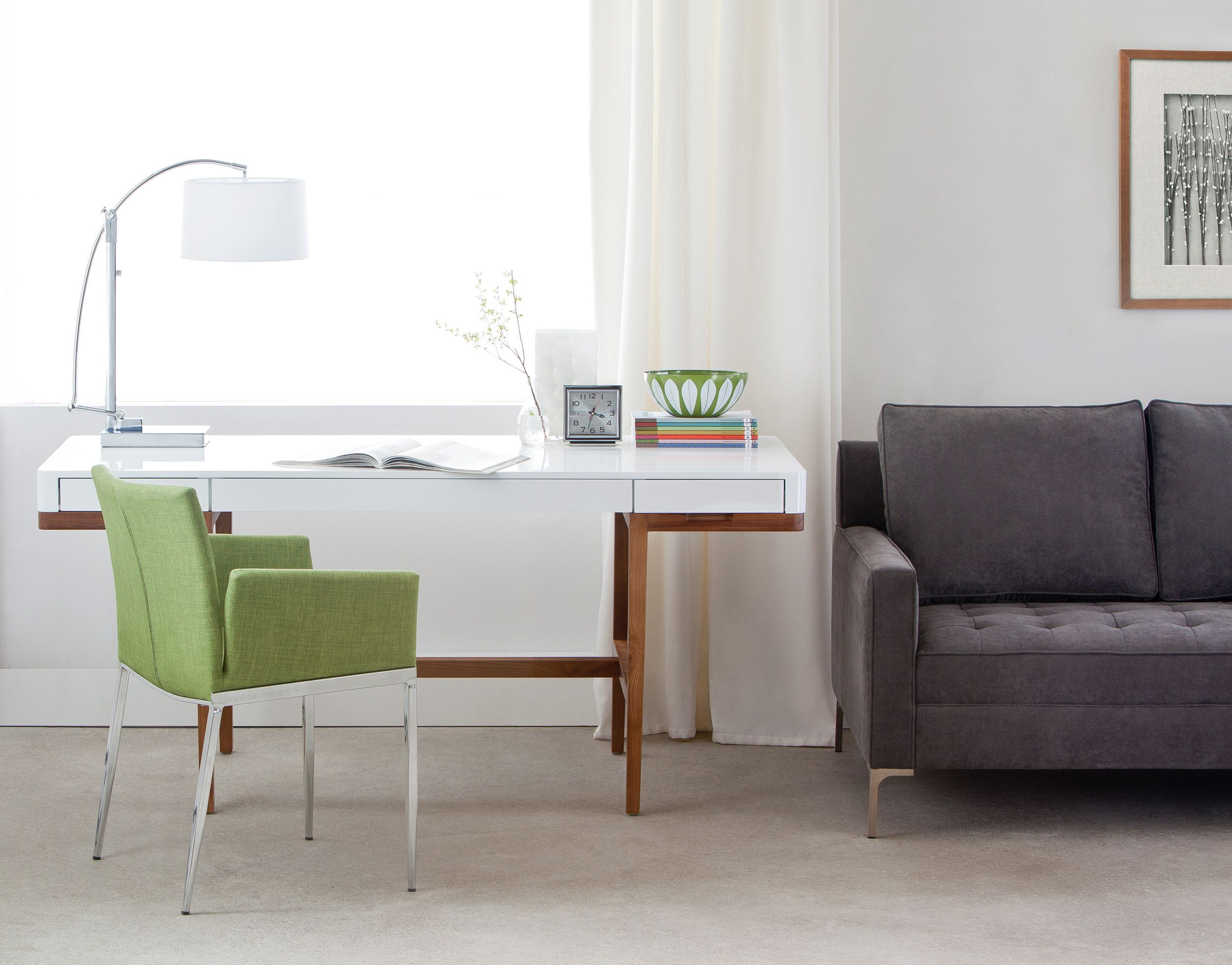 White Solid Ash Wood Desk 166cm 65 Structube Adel Home