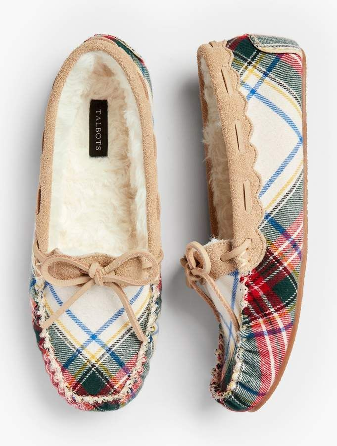 780a00ba4e5c75 Ruby Moccasin Slippers - Tartan Plaid in 2019