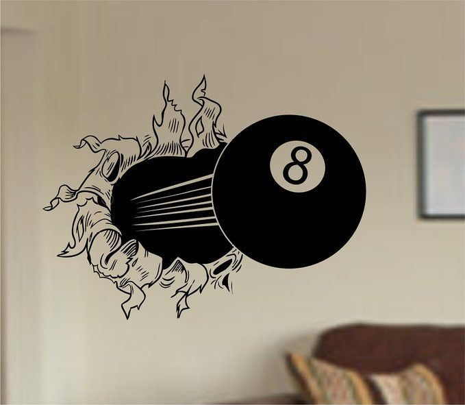 eight ball bursting ripping thru wall vinyl wall decal sticker art