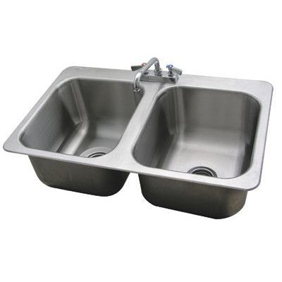 "Advance Tabco 304 Series 34"" x 21"" Double Seamless Bowl Drop-in Sink with Faucet"