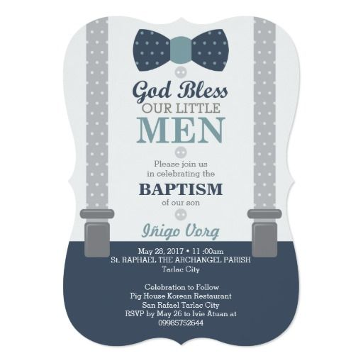 Twin Little Men Baptism Invitation, Blue, Gray Card Baptism - sample baptismal invitation for twins