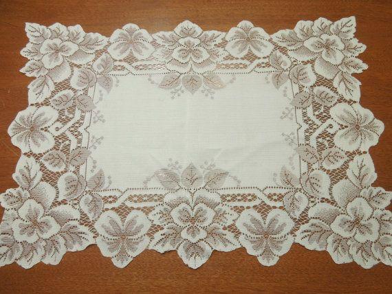 home decor vases Vintage Ivory Hand Crochet lace table runner dresser scarf for housewares flowers by MarlenesAttic