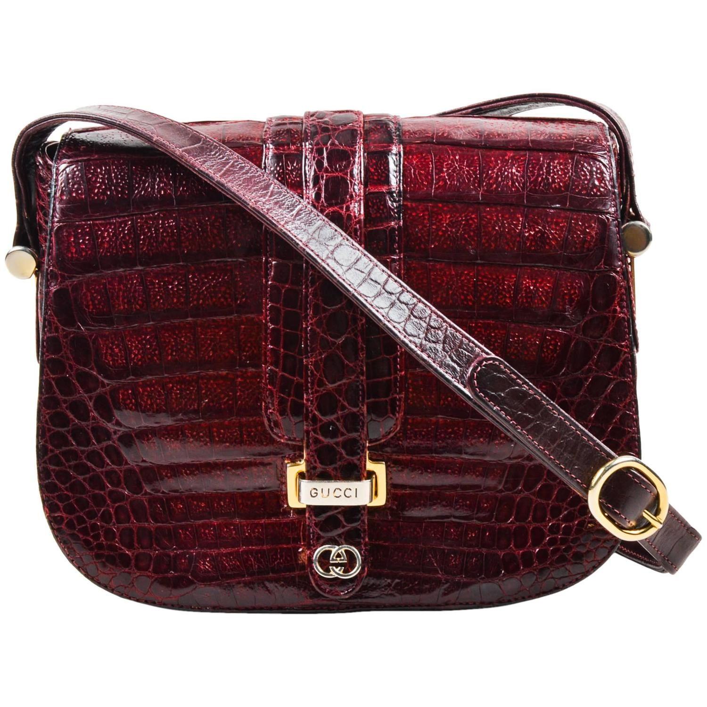 7ec88cb45e1 Vintage Gucci Maroon Caiman Crocodile Gold Tone Detail Flap Shoulder Bag
