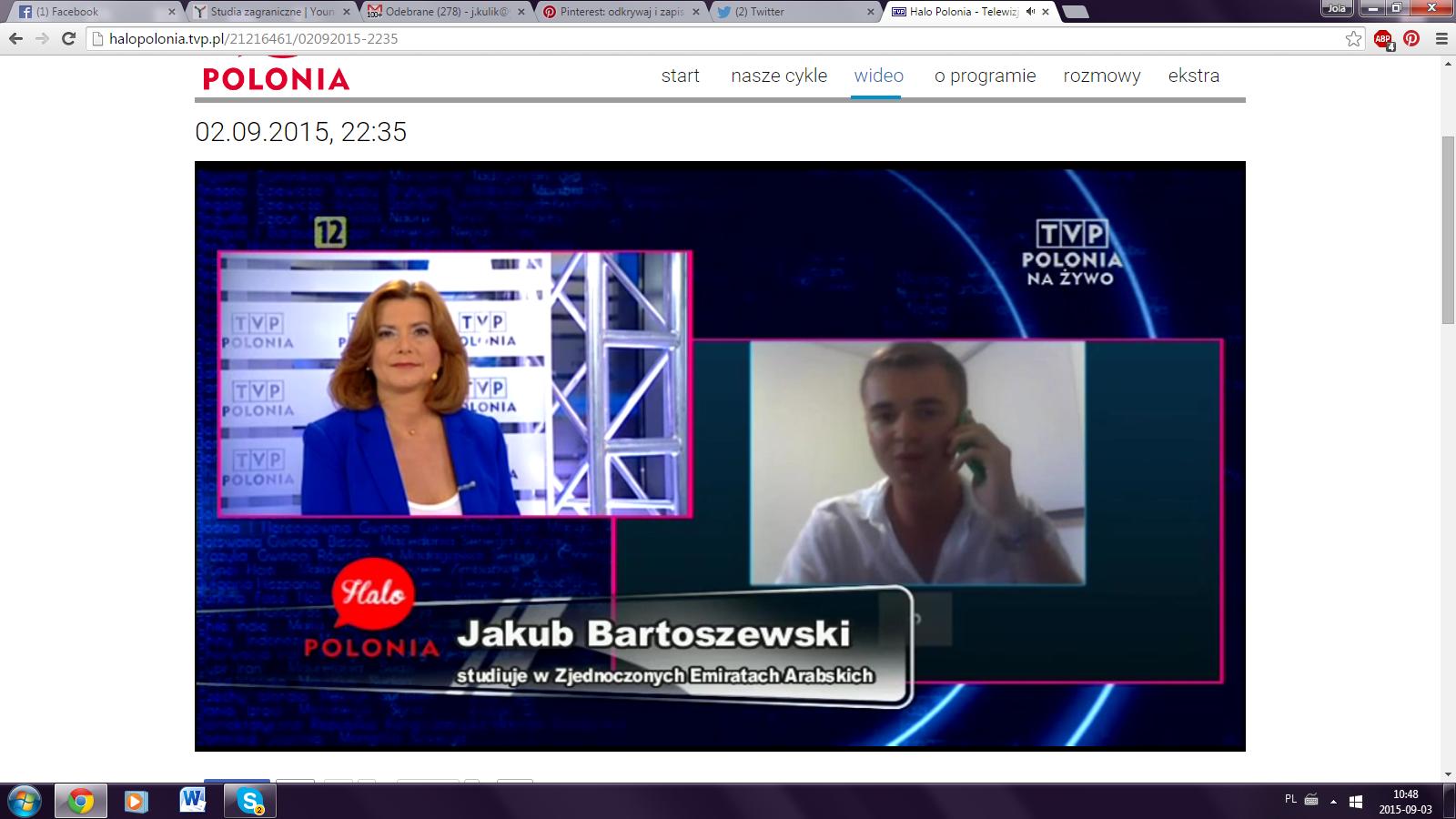 Nasz stypendysta Jakub Bartoszewski  na żywo z Abu Dhabi dla TVP Polonia!