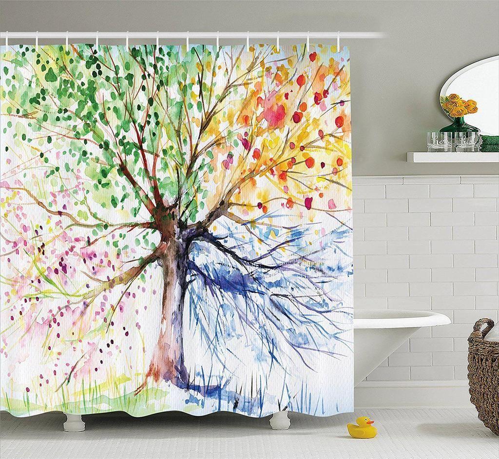 Seasons Tree Of Life Boho Shower Curtain Gogetglam With Images