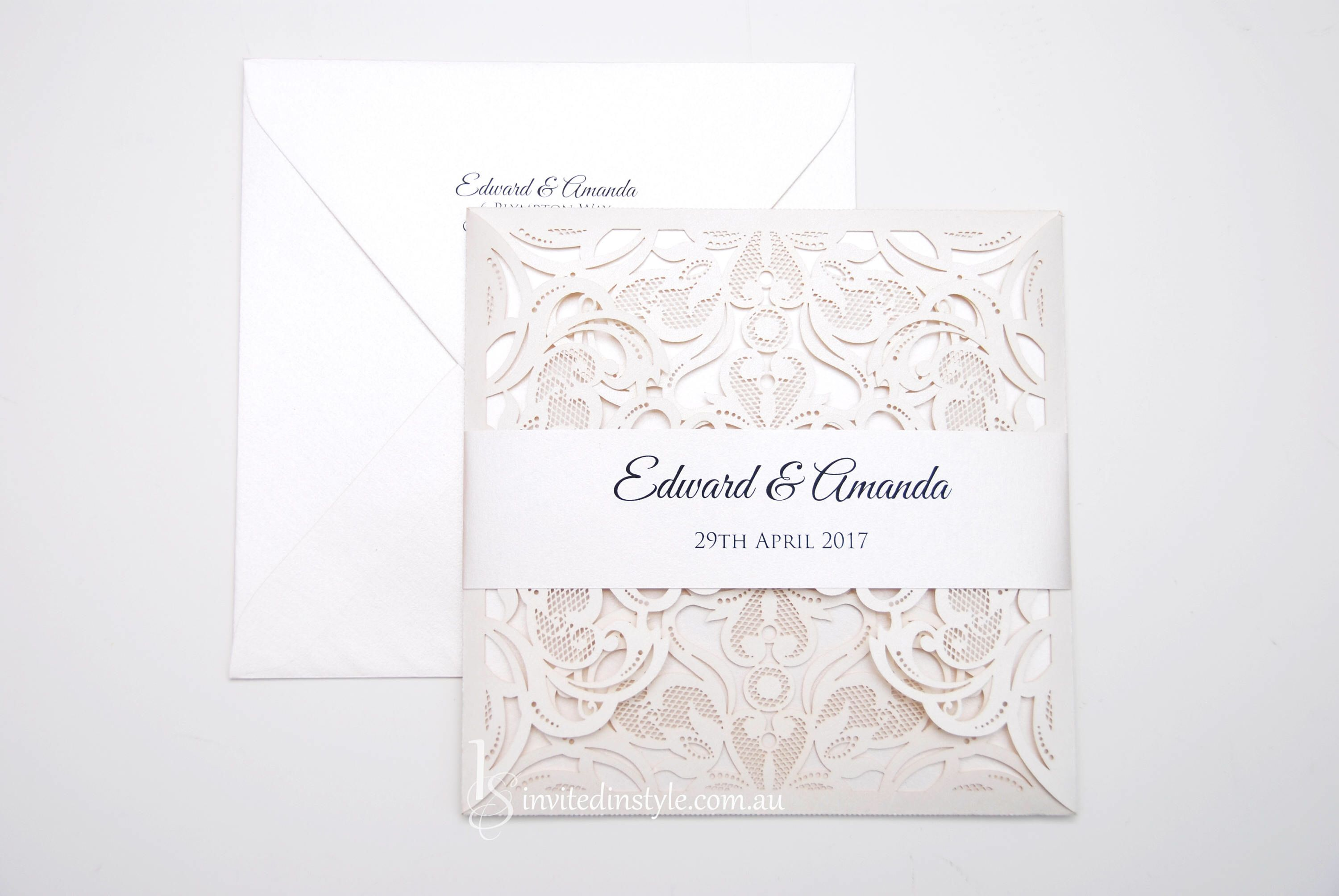 Laser cut Wedding Invitation, with personalised belly band - choice ...