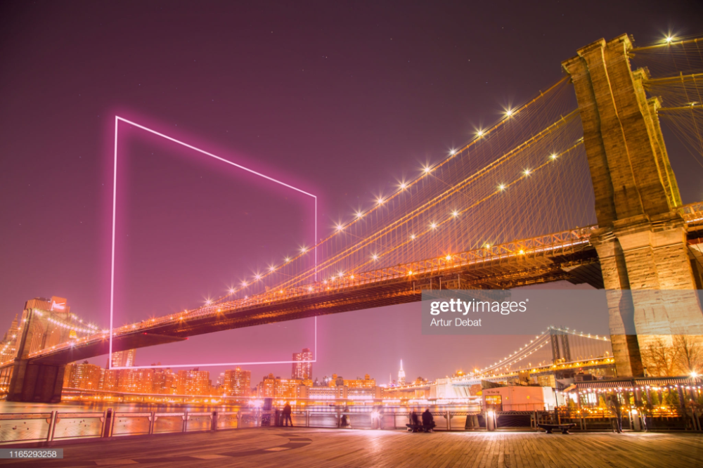 Geometric Neon Lights Suspended In The Sky With The Brooklyn Bridge Creative Pictures Brooklyn Bridge Stock Photos