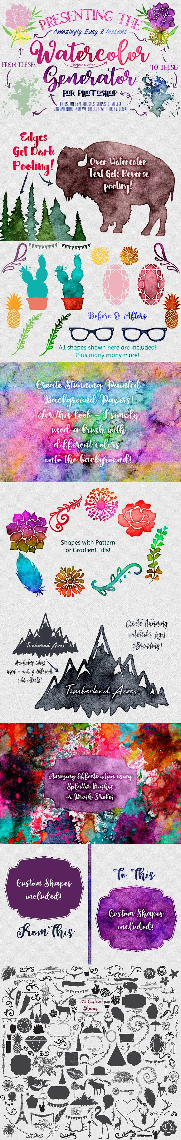 Watercolor Generator For Photoshop Create Graphics Paper