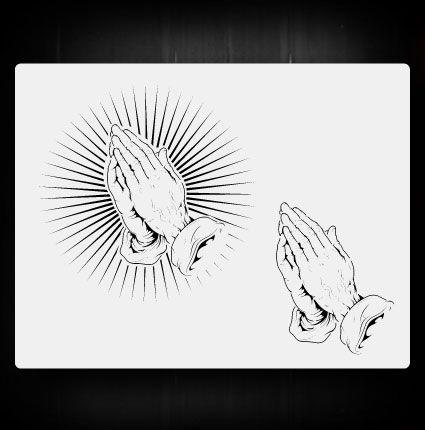 praying hands 1 airbrush stencil template airsick ebay tattoo