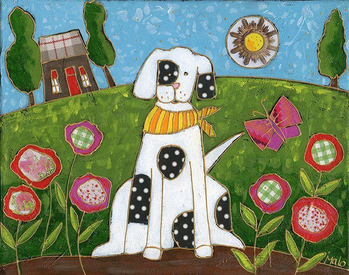 paysage avec chien fleurs et papillon peinture acrylique et collage art na f folk art. Black Bedroom Furniture Sets. Home Design Ideas